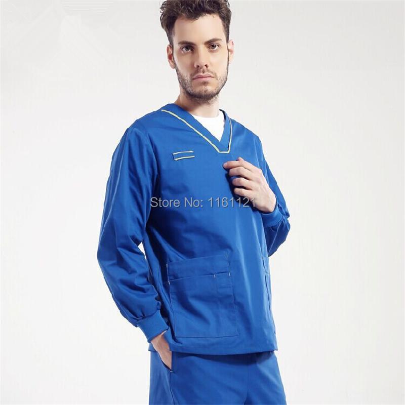 New 2015 Unisex Nurse Uniform V Shape Neck Fancy Piping Hospital Medical Scrub Set Clothes Long Sleeve free Shipping Surgical(China (Mainland))