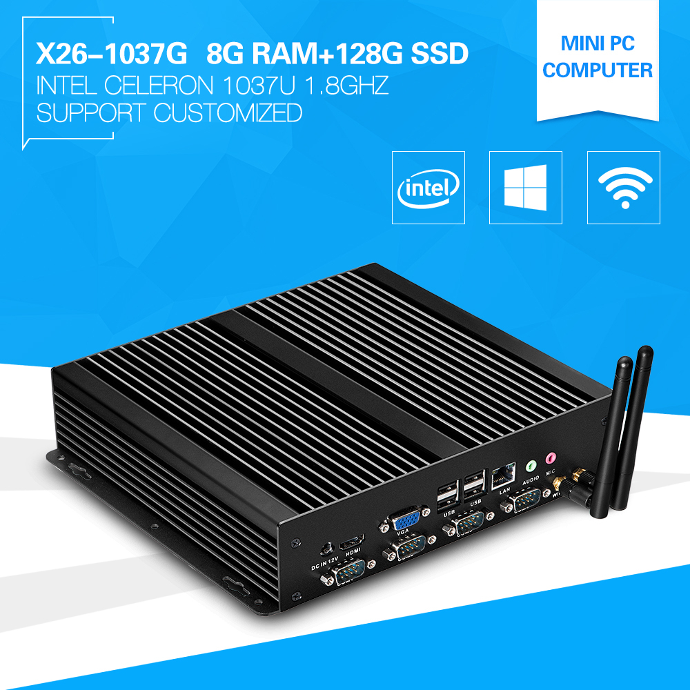 XCY Small Size but Durable and Efficient computer x26-1037G 1037u thin client 8g RAM 128g SSD fanless X86 Mini Desktop Server(China (Mainland))