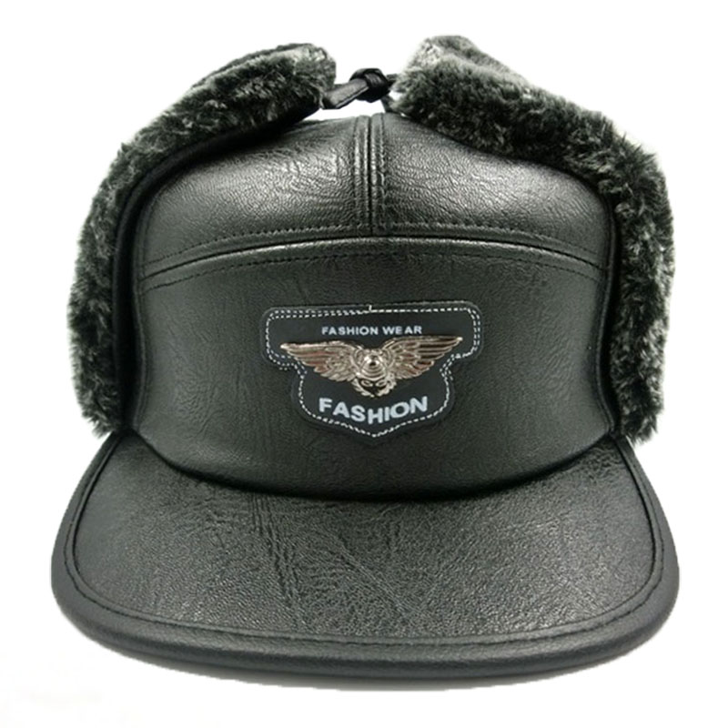 Fashion Russian Snow Hat Men Black PU Leather Bomber Hat Fur Baseball Cap With Ear Flaps Eagle Oudoor Skiing Bomber Hat Leather