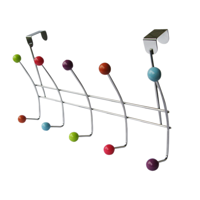 Best selling 10 HOOK MULTI COLOUR OVER THE DOOR CLOTHES COAT HANGER RACK CHROME HANGERS(China (Mainland))