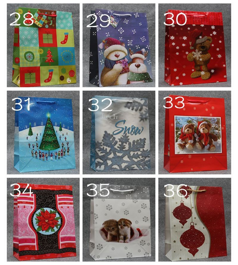 Free shipping . wholesale 9 colors New Christmas kraft paper bag, , gift bag .size32*26*12.5 cm 100piece\lot(China (Mainland))