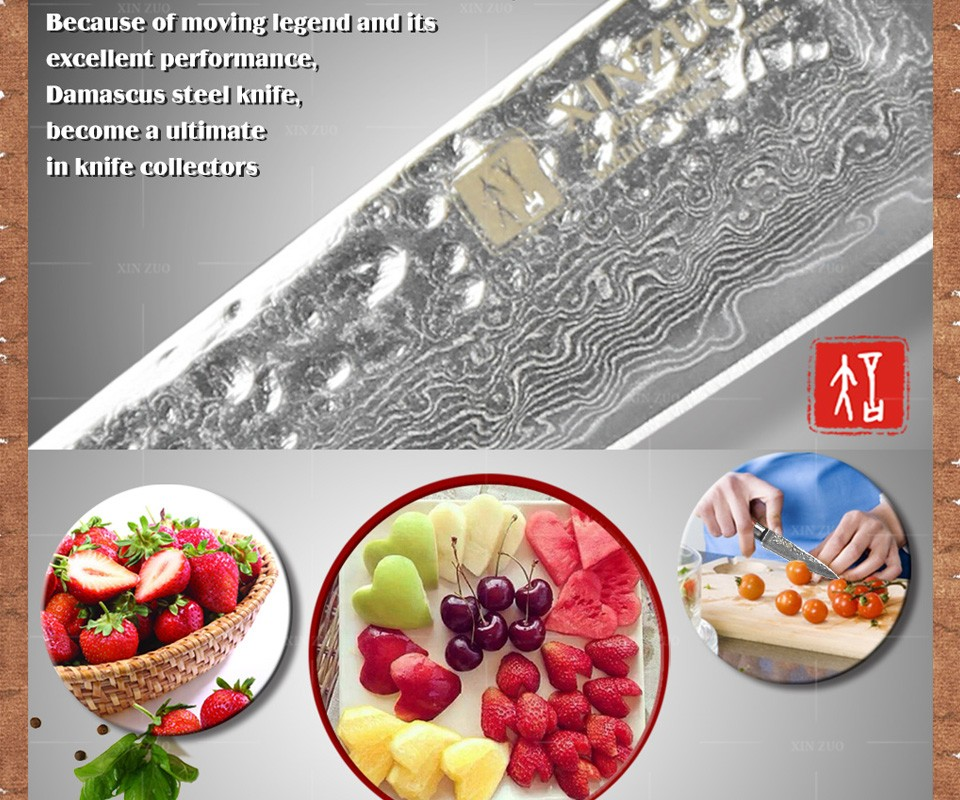 "Buy 2016 NEWEST 3.5"" fruit knife Damascus kitchen knives high quanlity paring knife senior damascus steel parer knife FREE SHIPPING cheap"
