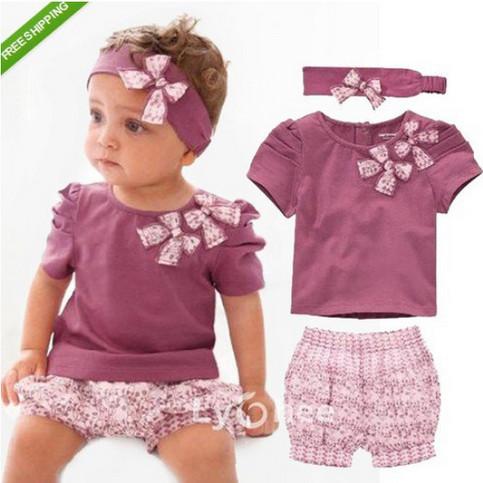 Baby Girl Clothing Flower Print Short Sleeve Tshirt Pant Headband 3 PCS Set Summer Baby Girl Clothes Set Purple Roupa De Bebe(China (Mainland))