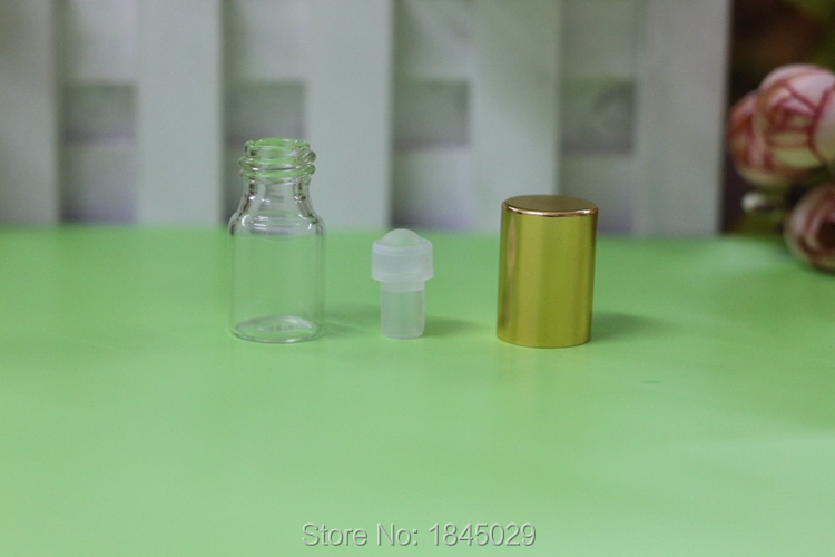 Wholesale SMALL 3ML 1000PCS CLEAR GLASS EMPTY PERFUME ROLL ON ROLLER BALL METAL BOTTLE GLASS BALL essential oil(China (Mainland))