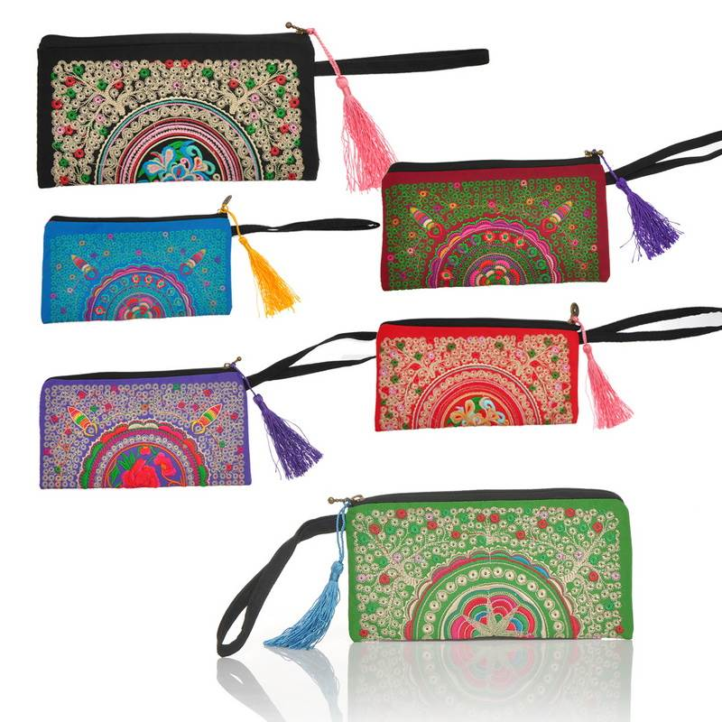 Women's Handbag Ethnic Style Purse Bag Embroidery Cloth Wallet Handbag Random Color 19.5cm x10cm(China (Mainland))