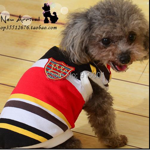 2015 Latest Sprot Dog Clothes Football Dog Jerseys Small Dog T Shirt Striped Pet Clothing FREE SHIPPING(China (Mainland))
