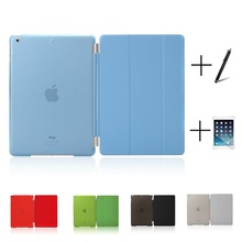 Slim Smart Soft PU Leather + Cover Hard Translucent Plastic Shell Case for iPad Mini 1 2 3(China (Mainland))