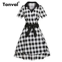 Tonval A Line 50 s клетчатое многослойное платье в мелкую клетку с отложным воротником и поясом в стиле ретро и винтажные женские платья(China)