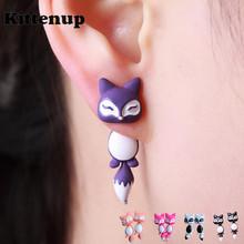 Kittenup New Fashion Yellow Purple Black Animal Cute Fox Stud Earrings For Women Jewelry Gifts 0418