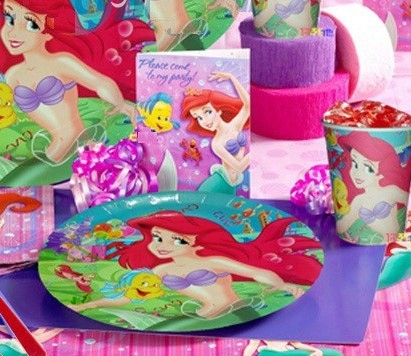 6Kids Free Shipping Birthday Decor Princess Mermaid Theme Paper Plate Paper Hat Straw Blow Girls Favor Themes Party Suppliers(China (Mainland))