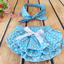 Girls Polka Dot Cotton Ruffle Bloomer with Top Knot Headband 10colors(China (Mainland))