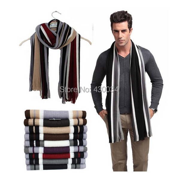2014 Fashion winter striped cotton scarf mens scarves shawl wrap,casual warm knit cashmere bufandas men business scarf echarpe(China (Mainland))