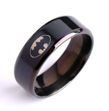 Cool boys girls  8mm  316L stainless steel black batman rings for men women high quality USA size 6-14