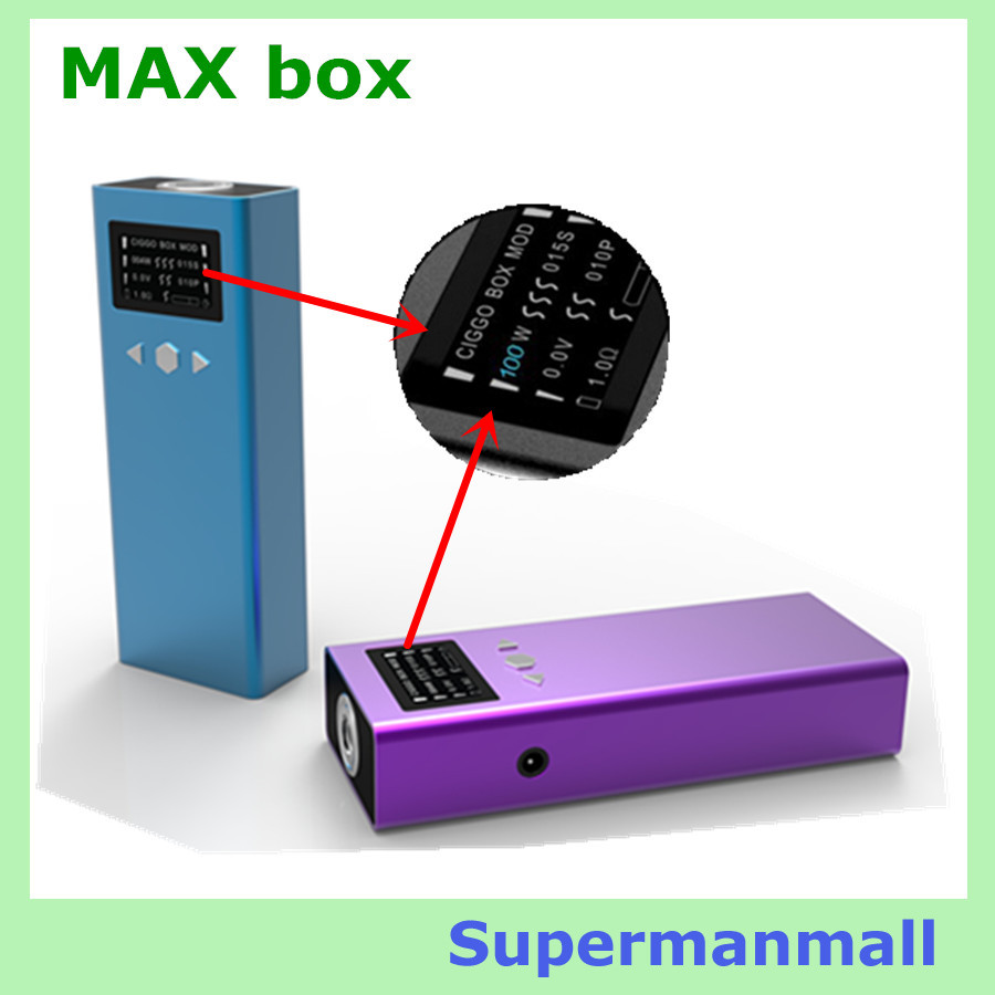 new arrive electronic cigarette Max Box variable voltage 100w Ciggo max box mod dual MOD e cigs mechanical mod box 18650 battery(China (Mainland))