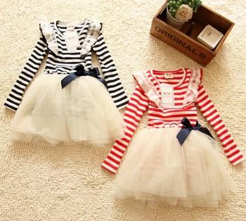 5pcs/lot new designer 2013 children dresses for spring fashion girl princess striped chiffon bow long sleeve dress kids garment