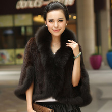Winter Women's Genuine Knitted Mink Fur Shawls With Fox Fur Collar Pashmina Capes Bat Sleeve Bridal Wraps Outerwear Coats(China (Mainland))