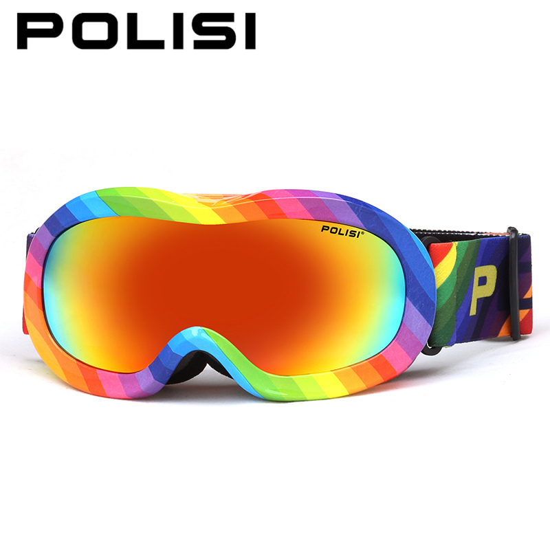 POLISI Winter Anti-Fog Ski Goggle Children Kids Snowboard Protective Eyewear Boys Girls Polarized Snowmobile Skate Snow Glaases