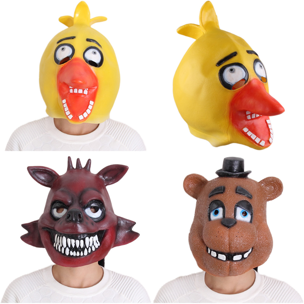 Original Five Nights At Freddy's 4 FNAF Cosplay Foxy Chica Bonnie Freddy Latex Mask Adult Size Figure Toys(China (Mainland))