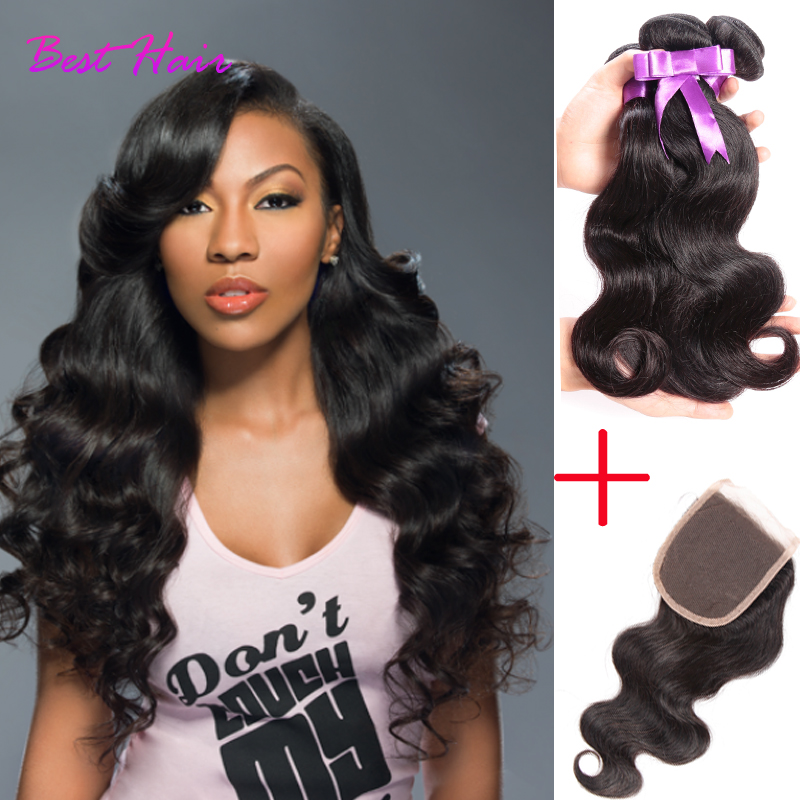 Peruvian Virgin Hair With Closure 4 Bundles With Closure Peruvian Body Wave With Closure Grade 7A Unprocessed Human Hair Weave