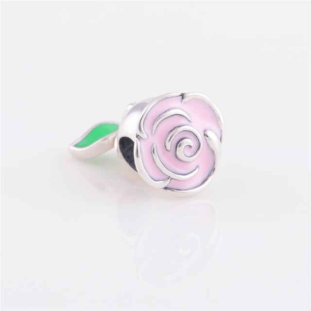Мода стерлингового серебра 925 бусины европейский шарм эмаль цветок стиль DIY ювелирных изделий подходит Chamilia стиль браслет