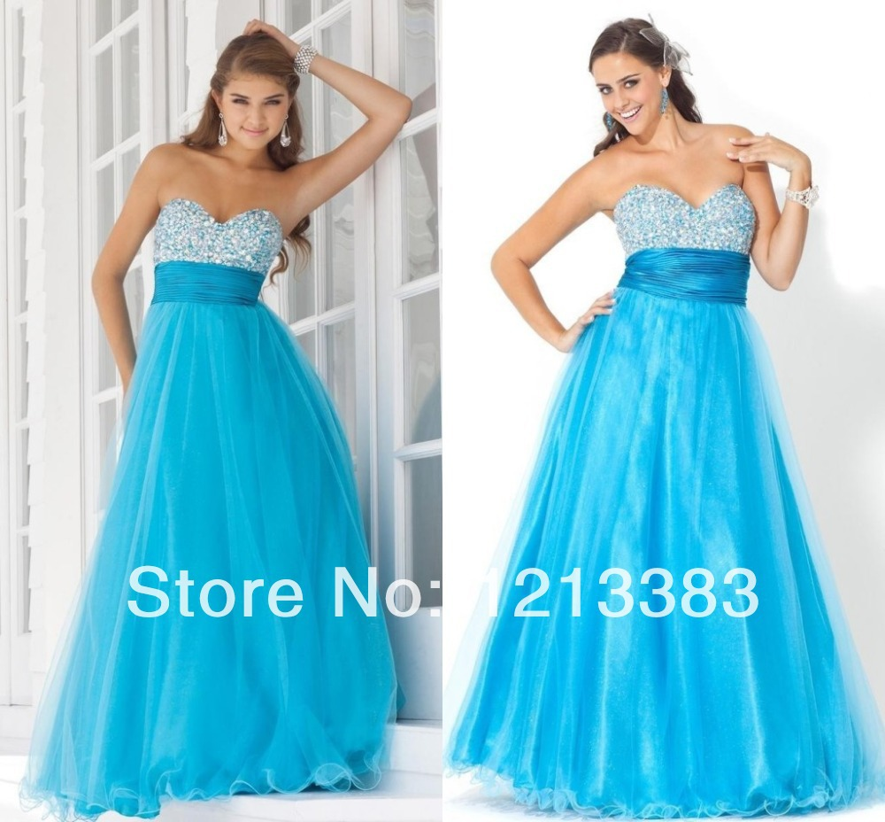 Hot Sales 2013 Sweetheart Sparking Beaded Ruched Long Blue Formal Evening Gown A-line Pink Prom Dresses Fast Shipping(China (Mainland))