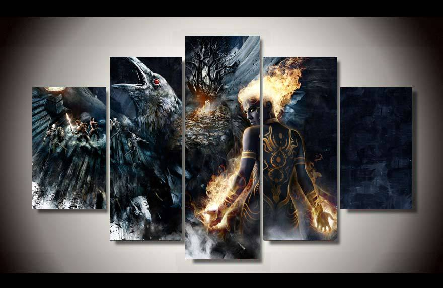 Framed printed fantasy battle art 5 piece picture painting for 5 piece mural