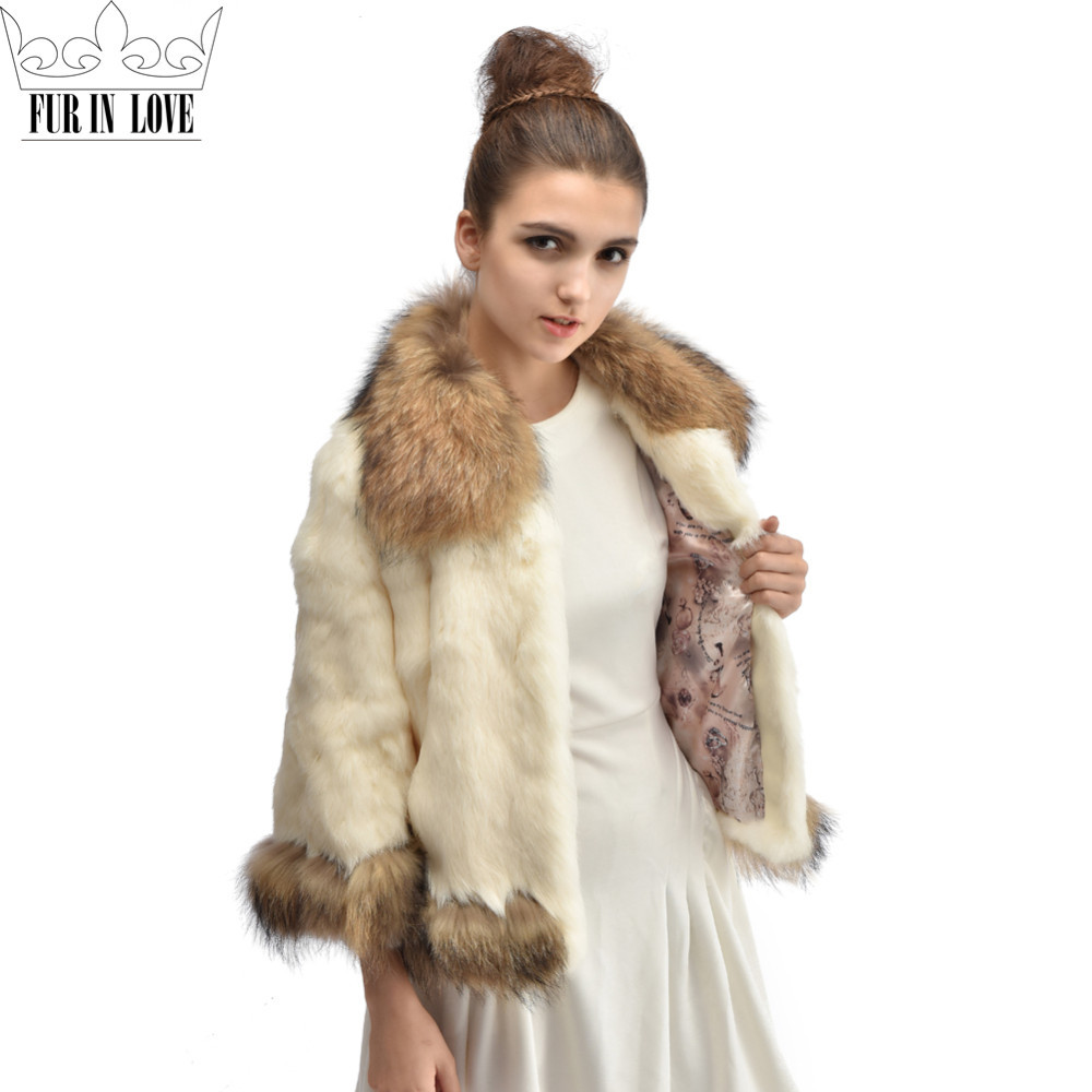 Fashon Women Genuine Whole Skin Rabbit Fur Coat With Real Raccoon Fur Collar Jacket 2016 New Winter Warm Rabbit Fur Outwear