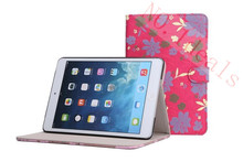 Print Flower Leather Case with Card Holders for Apple iPad mini 2nd with Retina Display, Fit for Apple iPad mini accessories(China (Mainland))