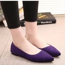 Lady s 4 13 Plain Flock leather pointed closed toe platform single low Cutter women pregnant