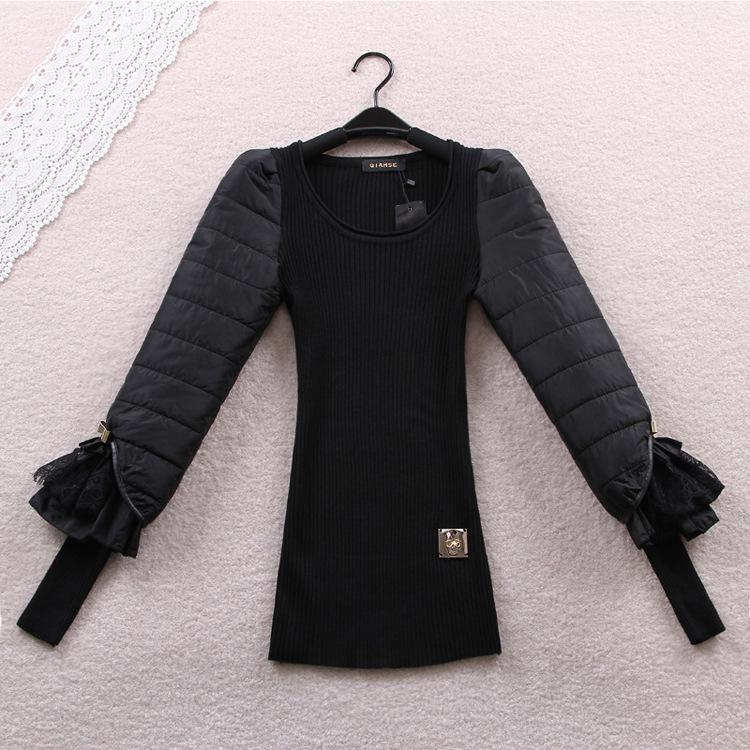 black autumn winter basic thin wool sweater eiderdown cotton bow lace long sleeve slim body women pullovers sweaters FZ14JUN023(China (Mainland))