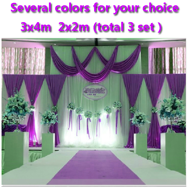 Purple wedding stage decorations backdrops 2015 new arrival romantic backdrop curtains for wedding(China (Mainland))