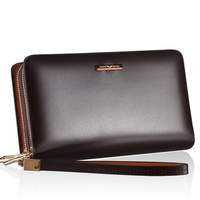 2015 Hansband High Quality Double zipper men clutch handbag  genuine leather Business man day clutch bag