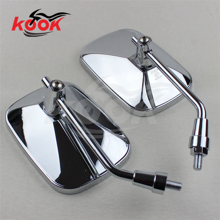 chrome motorcycle mirrors 10mm 8mm universal motorbike rearview mirror for Harley-Davidson style sliver big size Custom Chopper(China (Mainland))