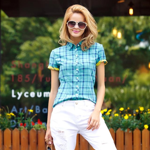 Вери güde клетчатые рубашки женщины с коротким рукавом хлопок блузка на лето ...