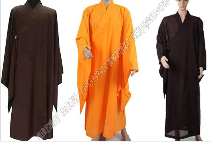Free Shipping Shaolin Buddhist Monk Robes Suits Kung Fu Uniforms Martial Arts Gown Unisex Buddhist Clothing(China (Mainland))