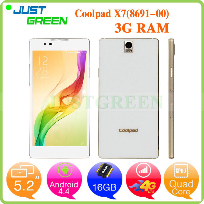 Original 5.2 inch Coolpad X7 (8691-00) MSM8974AA Quad Core 3GB RAM 16GB ROM Smart Phone 13MP Camera Android 4.4 Duak SIM 4G LTE(China (Mainland))
