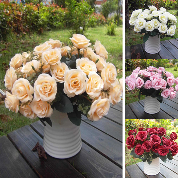Artificial False Rose Silk Flowers 15 Flower Head Floral Home Wedding Party Garden Bridal Hydrangea Decor DIY(China (Mainland))