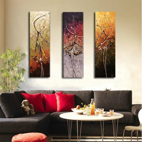 Dancing girls! 3 panels 100% Hand painted wall art picture Oil painting on canvas for living room modern home decoration MD3P322