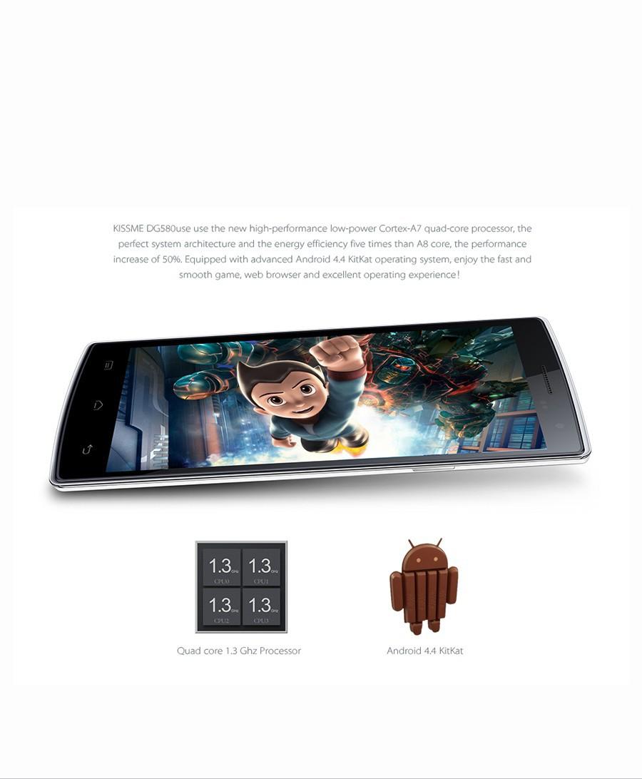 Мобильный телефон DOOGEE KISSME DG580 5,5' MTK6582 1.3 , 3G GPS OTG OTA 4.4 8.0MP 1 + 8