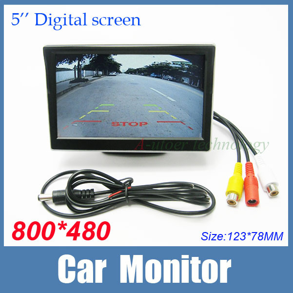 """5 inch 16:9 screen 5"""" TFT LCD High resolution 800*480 Car Rearview Backup Color Monitor Security Monitor for Camera DVD VCR 12V(China (Mainland))"""