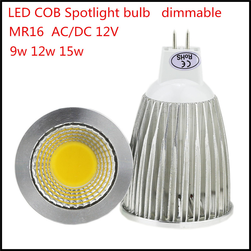 1X Super Bright LED MR16 COB 9W 12W 15W Bulb Lamp 12VAC/DC Spotlight Lighting Warm/cool white free shipping(China (Mainland))