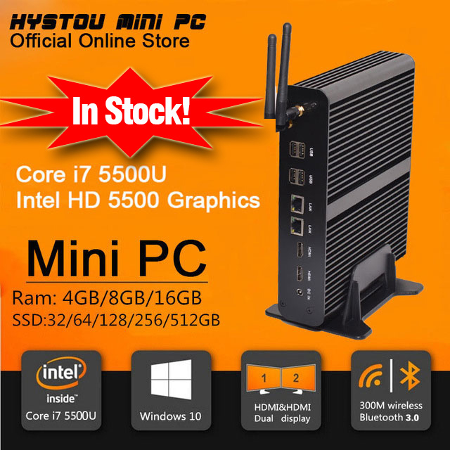 New Intel 5th Gen Core i7 5500U Mini PC Windows 8.1 Mini Computer Windows 10 compatible Minipc 4K HD HTPC TV box 2* HDMI 2* LAN(China (Mainland))
