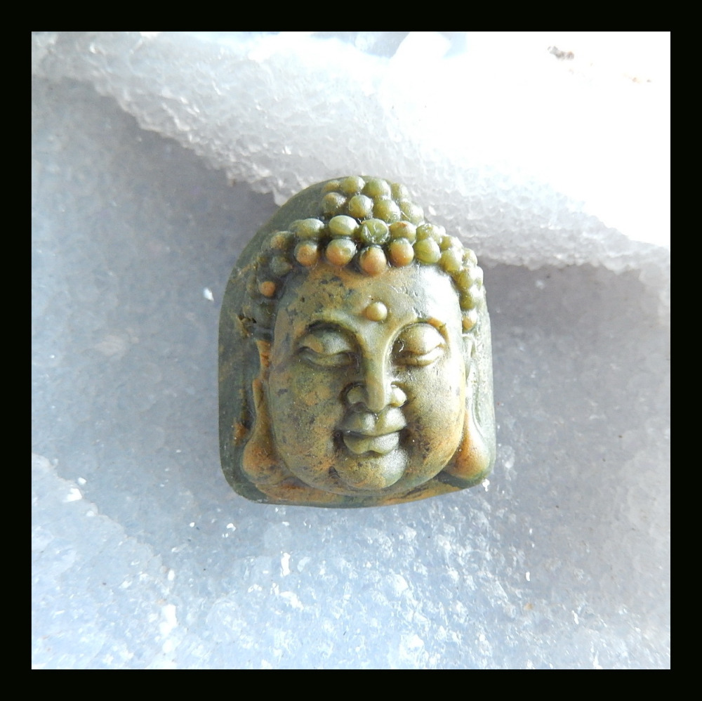 semiprecious stone Carved Ocean Jasper Buddha Head Cabochon,35*30*15mm,21.9g natural stone cabochon(China (Mainland))