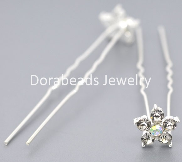 Free Shipping! 20 SP Rhinestone Flower Charms Wedding Hairpins 69x13mm (B08637)(China (Mainland))