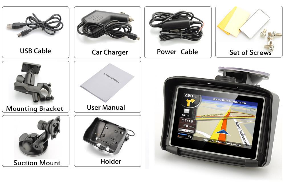 4.3 ''Waterproof мотоцикл / мото GPS навигации водонепроницаемый IPX7 GPS навигатор для Moto