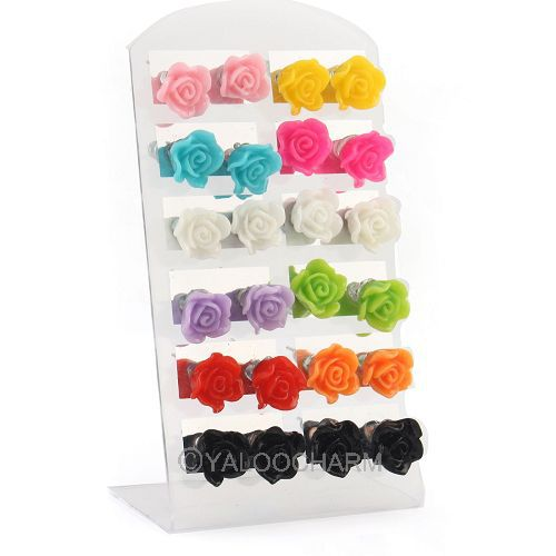 Korean HOT SELL Mixed Lots Colorful 12 Pairs Cute Small Resin Rose Flower Stud Earrings 61713(China (Mainland))