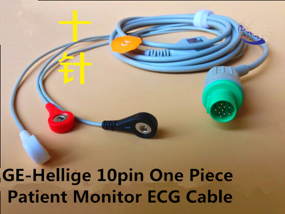 Free Shipping Compatible for GE Hellige One Piece Patient Monitor ECG Cable with 3 Leads Snap