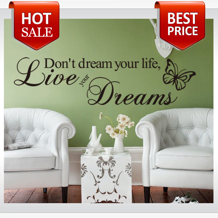 Гаджет  Free shipping Word Live Your Dream Butterfly Quote Room Decor Art Removable Decal Wall Sticker  None Дом и Сад