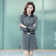 Light Gray/Dark Gray/Red New Autumn Vintage Ol Slim Career Formal Dress Turn-Down Collar Fashion Wool Dresses Free Shippingb1719(China (Mainland))
