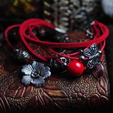 Vintage Tibetan Jewelry Bracelet Gift For Women Chrysanthemum Flower Butterfly Multi-layer 082(China (Mainland))